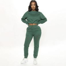 Casual and heavy hole pants suit