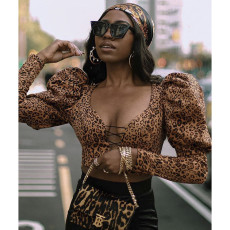 Thickened V-neck slim fit leopard print Pullover