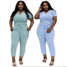 Solid color sexy V-neck two piece set