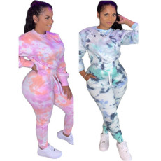 Tie dye printed leisure two piece set