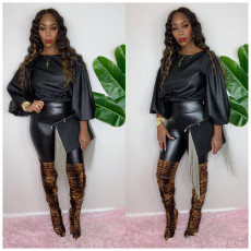 Fashion light leather lantern long sleeve two piece set