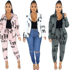 Letter printed leisure sports suit