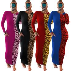 Sexy tight stitched Leopard Dress