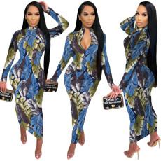 Fashion leaf print dress