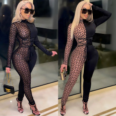 Sexy mesh patchwork long sleeve Jumpsuit