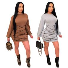 Casual bandage T-shirt dress