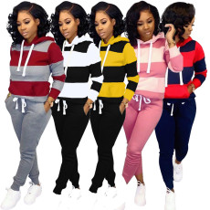 Contrast stripe hooded top casual two piece set