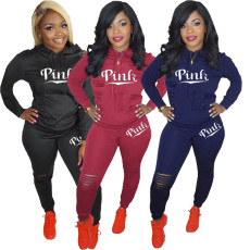 Fashion two piece set of lettered print sport