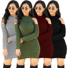 Sexy fashion high stretch knitted sweater dress