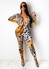 Printed hooded sports casual Jumpsuit
