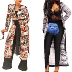 Printed cardigan coat (with belt)