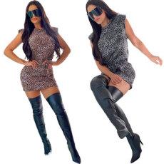 Leopard print dress with belt