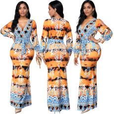 Digital print V-neck dress