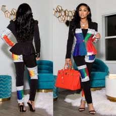 Fashion printed cardigan suit