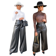 Wide leg high waist Pu pants