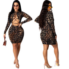 Sexy hollow lace up leopard tight dress