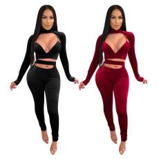 Fashionable two piece velvet solid color set