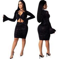 Sexy hollowed out flared sleeve dress