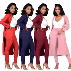 Long coat solid two piece set