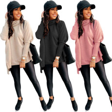 Fashion high collar solid color sweater top
