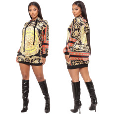 Sexy fashion hooded print one piece skirt