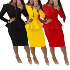 Long sleeve zipper professional women's dress set