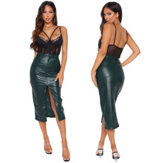 Slim front slit skirt leather skirt