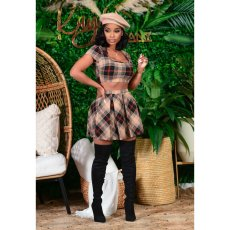 Plaid open navel pleated skirt suit