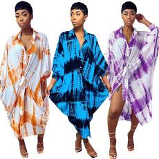 Loose printed long sleeve dress