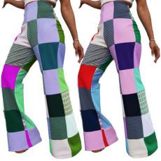 Digital print Plaid casual pants