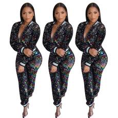 Multicolor sequins fashion casual two piece set