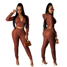 Flocked Leather Two Piece Set