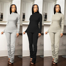 Casual solid color pleated two piece set