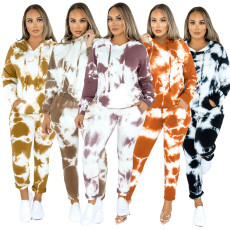 Casual fashion two piece hooded sports suit