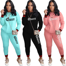 Casual letter long sleeve suit