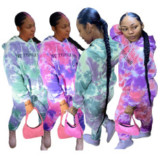 Letter printed tie dye leisure sports two piece set