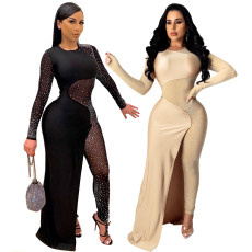 Sexy polyester mesh hot drill loose one-piece skirt