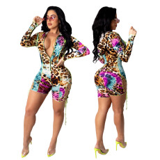 Fashionable and sexy printed cordon Jumpsuit