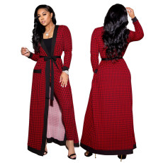 Three piece Plaid long coat