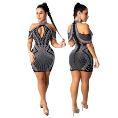 Hot drill sexy hip wrap dress