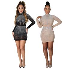 Fashion hot drill long sleeve half high collar dress