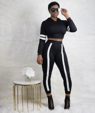 Solid color stitching sports leisure two piece set