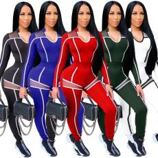 Patchwork mesh stripe suit