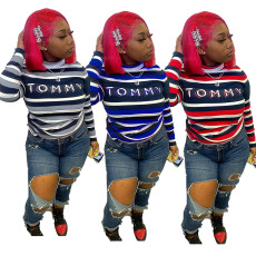 Fashion striped high neck T-shirt