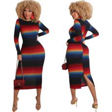 Fashion tight gradient print dress