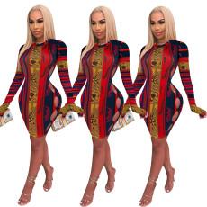 Printed slim short dress