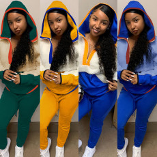 Fashion casual lamb sweater two piece sports suit