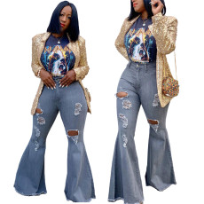 Fashionable flared pants with holes