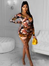 Fashionable casual drawstring print dress
