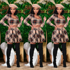 Checked navel exposed suit